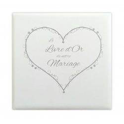 Livre d'or Mariage cœur blanc effet toilé - Made in Fance