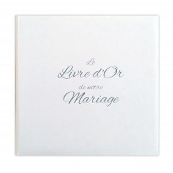 Livre d'or Mariage blanc effet toilé - Made in Fance