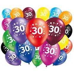 Lot de 20 ballons anniversaire 30 ans