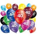 Lot de 20 ballons anniversaire 40 ans