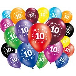 Lot de 20 ballons anniversaire 10 ans