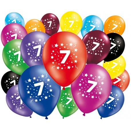 Lot de 20 ballons anniversaire 7 ans