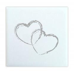 Livre d'or Mariage 2 cœurs blanc effet toilé - Made in France