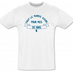 Tee shirt 20 ans à dédicacer + Feutre textile