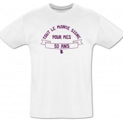 Tee shirt 50 ans à dédicacer + Feutre textile
